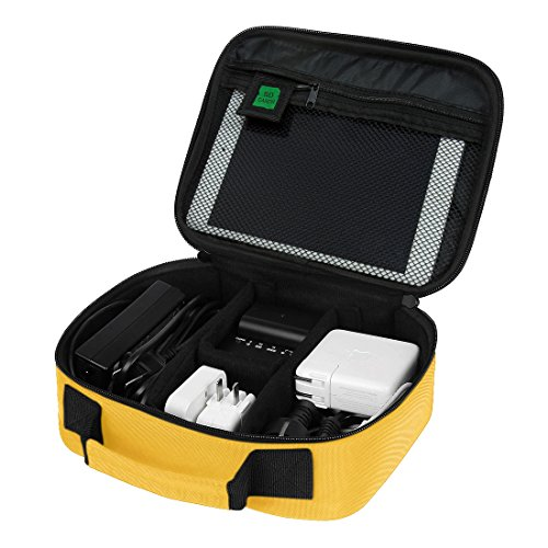 BAGSMART Electronics Travel Organizer Bag Hard Drive Case for Various USB, Phone, Cable, Charger, Yellow