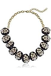 Gold-Tone Black Lucite and Rhinestone Collar Statement Necklace