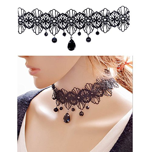 a5d54f9e20bb8 Trasfit 10 Pieces Lace Choker Necklace for Women Girls, Black ...