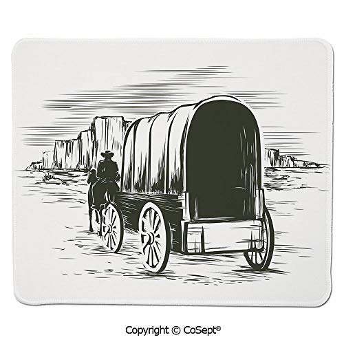 (Non-Slip Rubber Base Mousepad,Old Traditional Wagon Wild West Prairies Pioneer on Horse Transportation Cart Decorative,for Laptop,Computer & PC (7.87