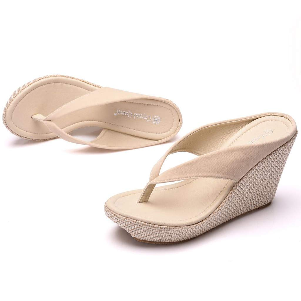 SMALLE_Shoes Wedge Flip Flops for Women,SMALLE◕‿◕ Women Beach Sandals Platform Wedges Sandals High Heels Wedges Slippers Beige by SMALLE_Shoes (Image #6)