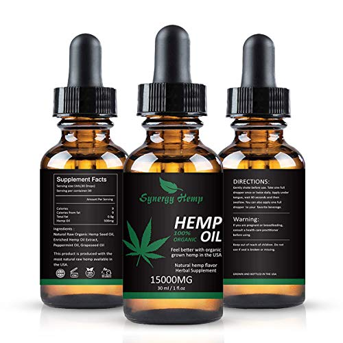 Synergy Hemp Oil Drops, 15 000 mg, Natural CO2 Extracted, 100% Organic, Pain, Stress, Anxiety Relief, Reduce Insomnia