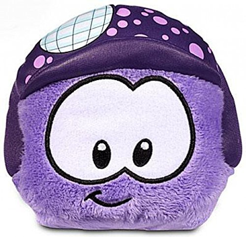 DISNEY CLUB PENGUIN 4 IN PLUSH PURPLE WITH DISCO BALL HELMET WITH OUT COIN OR CODE (Club Penguin Plush Toys)