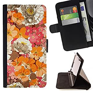 For Samsung Galaxy A5 ( A5000 ) 2014 Version Case , Campo de flores floral primavera Naturaleza- la tarjeta de Crédito Slots PU Funda de cuero Monedero caso cubierta de piel