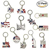 #5: 12 Pack New York NYC Metal Keychain Ring Bundle Souvenir Collection, Gift Set – Includes Empire State, Freedom Tower, Statue Of Liberty, USA Flag, And More