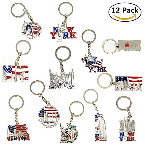 Liberty Tower - 12 Pack New York NYC Metal Keychain Ring Bundle Souvenir Collection, Gift Set – Includes Empire State, Freedom Tower, Statue Of Liberty, USA Flag, And More