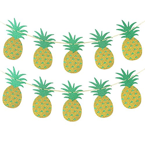 Gold Glittery Pineapple Sign Banners -Hawaiian Luau Tropical Summer Party Decorations - Banner Pineapple