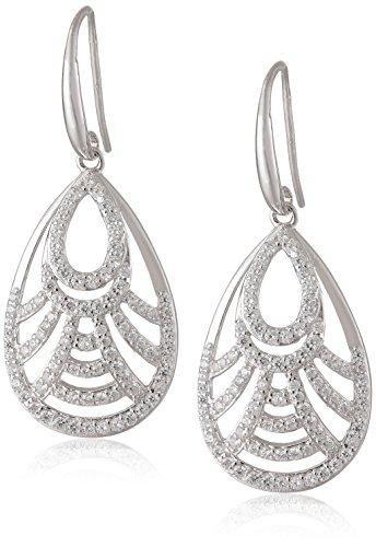 Openwork Teardrop Earrings - Sterling Silver Cubic Zirconia Open Teardrop Dangle Earrings