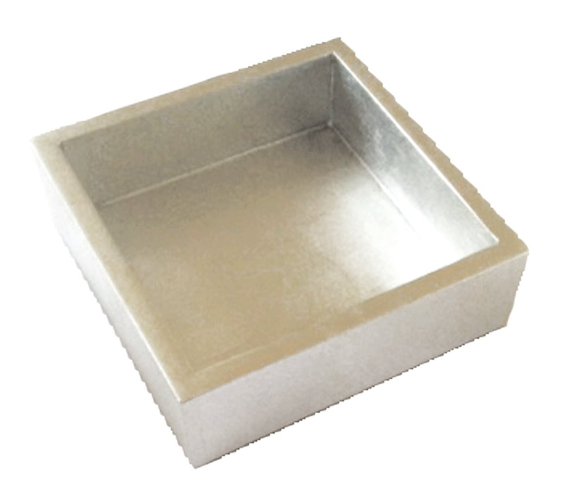 Caspari - Lacquer Flat Napkin Holder For Kitchn or Dining Room, Silver by Entertaining with Caspari