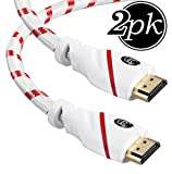 HDMI Cable - 10 FT (3M) 4K Resolution (2-PACK) High Speed HDMI Cable (2.0b) Supports Ethernet, Ultra HD, HDR Video, Bandwidth 18Gbps, Audio Return Channel,10 feet, (Latest Standard) HDCP 2.2 Compliant