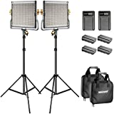 Neewer Bi-color LED 480 Video Light and Stand Kit with Battery and Charger for Studio, YouTube Video Shooting, Durable Metal Frame, Dimmable with U Bracket and Barndoor, 3200-5600K, CRI 96+ (2 Pack)
