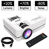 "Projector, WONNIE Mini Projector 2200 Lumens 170"" Display + 70% Brighter, Multimedia Home Theater Video Projector with HDMI Cable, Support 1080P HDMI USB SD Card VGA AV TV Laptop Game Smartphone"
