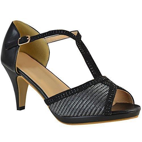 Fashion Thirsty Womens Ladies Wedding Bridal Shoes Prom High Heel Diamante Party Sandals Size Black Faux Leather Q3hHR