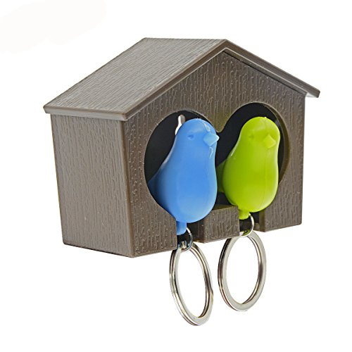 Saim Lover Sparrow House Key Ring Bird Nest Shape, Keychain Split Ring Home Wall Hook Holder Key Ring-Brown -