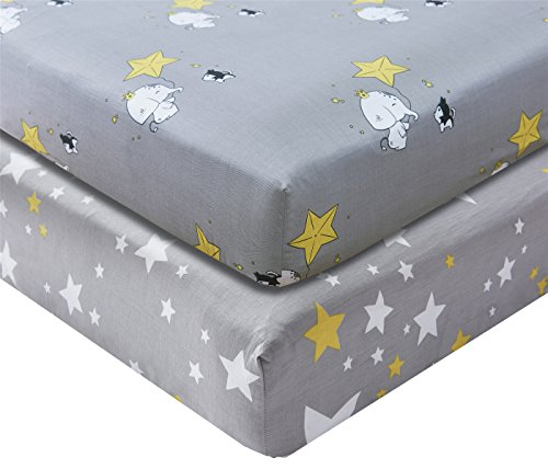 Kachabros 100% Cotton Crib Sheets Top Quality Nursery Bedding for Boy 2 Pack Soft Baby Shower Gift in Gray with Elephant Dog and Yellow Stars