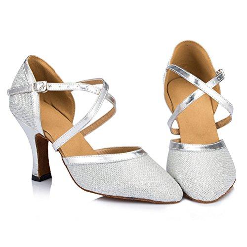 Misu Femmes Bout Fermé Semelle En Daim Latin Salsa Tango Pratique Chaussures De Danse De Salon Avec 3.1 Talon Argent