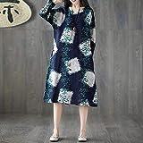 AMSKY Toddler Dress,Women Plue Size Long Sleeve Patchwork Cotton Linen Loose Print Bohe Dress,Tops & Tees,Navy,XXL