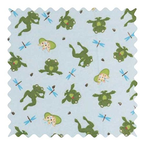 SheetWorld 100% Cotton Flannel Fabric by The Yard, Frogs n Pods, 36 x 44