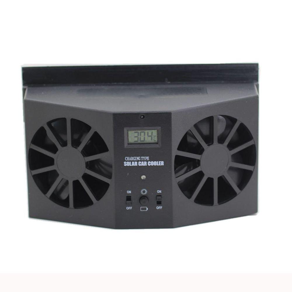 bestpriceam Solar Dual Fan Car Front/Rear Window Air Vent Cool Cooler Fan Windshield Fan (Black)