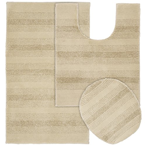 Garland Rug 3-Piece Essence Nylon Washable Bathroom Rug Set, Linen