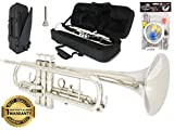 D'Luca 500N 500 Series Plated Standard Bb Trumpet with Professional Case, Cleaning Kit, Nickel
