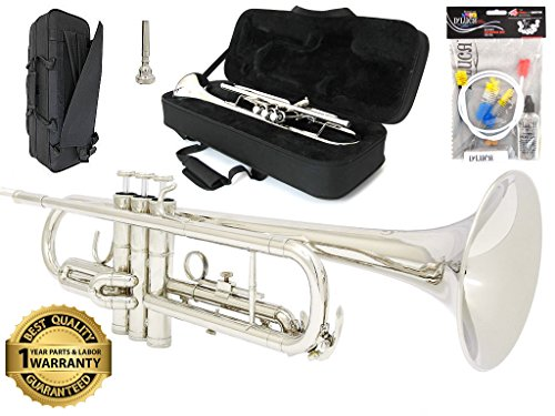 D'Luca 500S 500 Series Plated Standard Bb Trumpet with Professional Case, Cleaning Kit, Silver by D'Luca