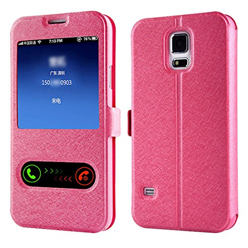 Meily® Window Leather Flip Case Cover Skin for Samsung Galaxy S5 G900 i9600 (Hot Pink)