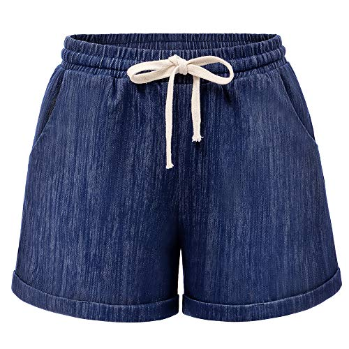 Raroauf Women's Drawstring Elastic Waist Comfy Cotton Bermuda Beach Shorts Plus Size 2-20