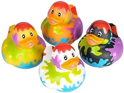 Novelty 4 Count Paint Splatter Style Rubber Ducks