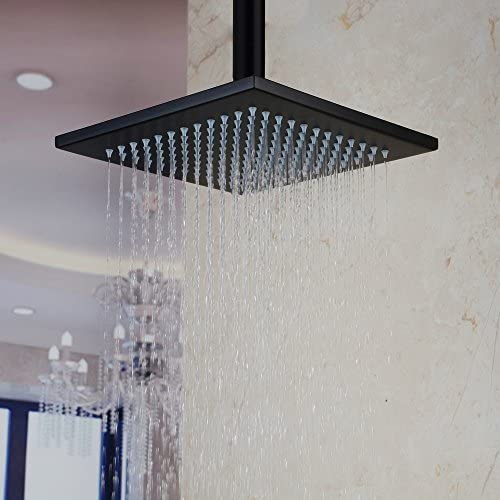 Hiendure Ceiling Mount Stainless Steel Square Rainfall Shower Head 8 Inch, Oil Rubbed Bronze