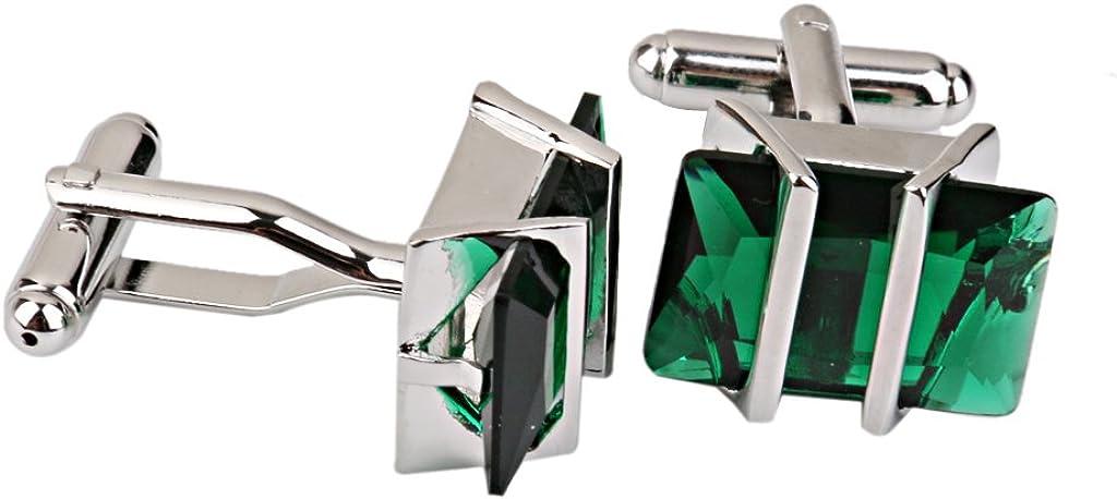 perfektchoice Lover Couple Green Crystal Cufflinks Cuff Links Wedding Jewelry Birthday