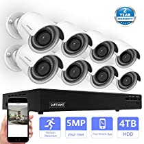 Safevant 8CH H.265 1944P PoE Security Camera System with 8x HD 5MP(2592x1944P)Outdoor /Indoor CCTV Surveillance Camera,100ft Night Vision,Pre-installed 4TB HDD,Free APP,Plug&Play
