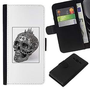 All Phone Most Case / Oferta Especial Cáscara Funda de cuero Monedero Cubierta de proteccion Caso / Wallet Case for Samsung Galaxy A3 // Punk Skull Black White Poster Biker