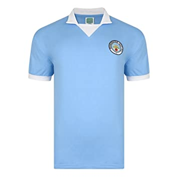 Official Retro Manchester City 1976 Retro camiseta de fútbol 100% algodón, small