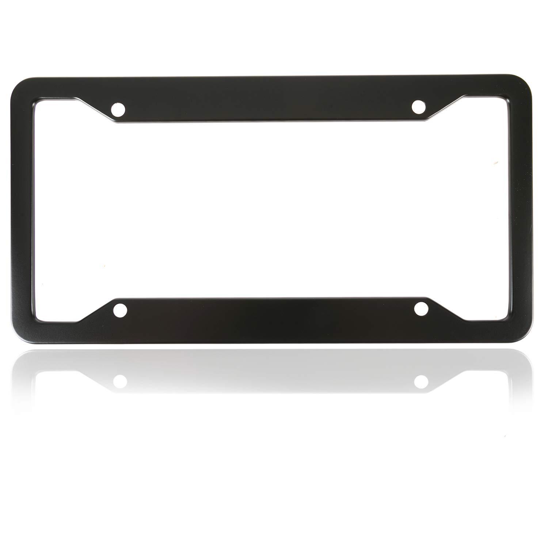 BlingtoTooth Fashion 4 Holes Black Matte Aluminum Alloy License Plate Frame Cute USA Standard Car//Truck//SUV License Plate Holder Cover 2PCS