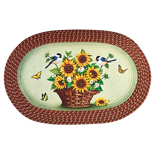 Collections Etc Sunflowers and Chickadees Braided Oval Accent Rug ()
