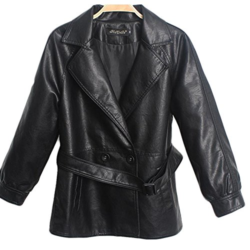 Manka Vesa Women's Biker Motorcycle Belted Peplum Faux Leather Suit Collar Jackets - Jacket Front Short Button