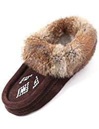 Eucoz Women Moccasins Slippers Indoor,Genuine Leather Suede Slippers,Beaded Design with Rabbit Fur Collar,Fleece Lined,Soft Sole,Slip-On