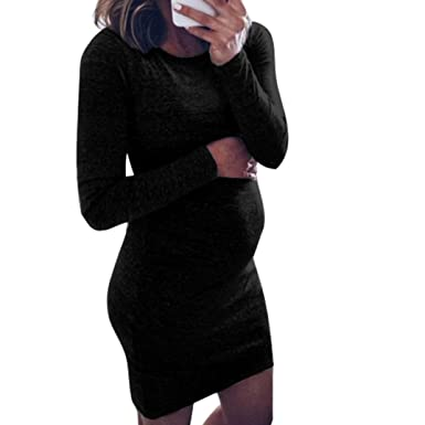 e3128a1a9d762 Pregnant Dress Women O-Neck Long Sleeve Dress Maternity Nursing Dress  Jumper Dress Casual Mini Dress (XL, Sexy Black): Amazon.co.uk: Clothing
