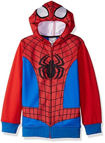 Marvel Big Boys' Spiderman Fleece Zip Costume Hoodie, Red/Blue,10(Small)