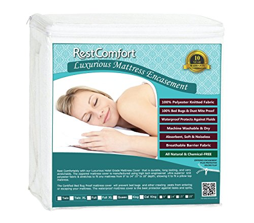 RestComfort Luxury Zippered Encasement Waterproof, Dust Mite Proof, Bed Bug Proof, Hypoallergenic Breathable Six Sided Mattress Protector … (Twin LX, Scratches 9-15