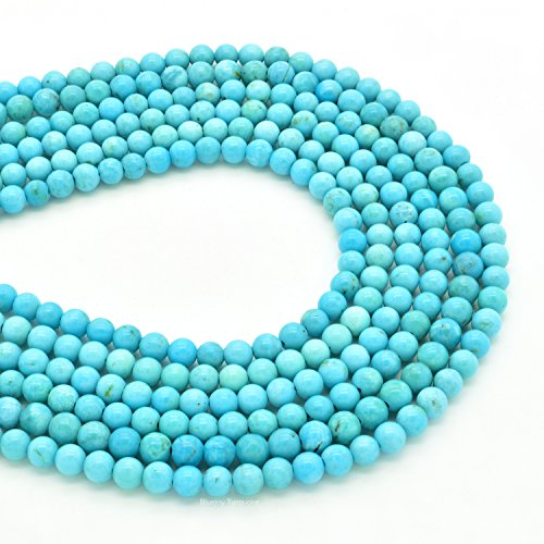 - Bluejoy Genuine Natural American Turquoise Round Bead 16 inch Strand for Jewelry Making (3mm)