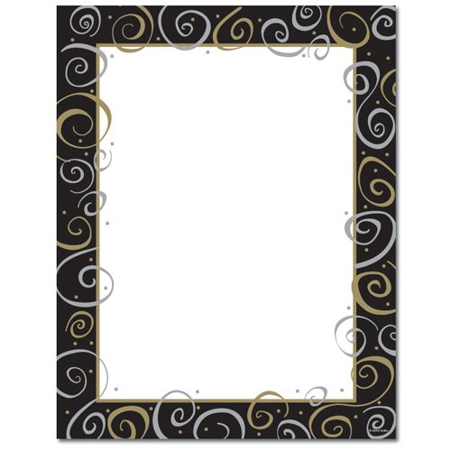 Gold and Silver Swirls Stationery