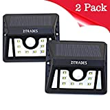 Zitrades Solar Lights Outdoor LED Security Light Motion Sensor Solar Powered Wall Lights 8 LED Outdoor Lighting Weatherproof for Patio Garden Home Deck Back Yard Driveway Stairs Outside Walkway 2 pack