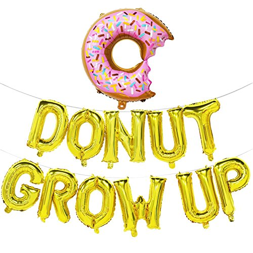 Donut Grow Up Balloons | Donut Grow Up Birthday Banner | Donut Birthday Party Decorations | Donut Theme Party Supplies | Donut Shape Balloons (Gold)