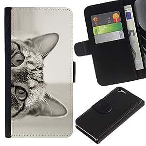 KingStore / Leather Etui en cuir / Apple Iphone 6 / Gato que mira a escondidas negro oídos Blanco Ojos
