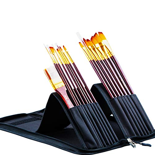 Transon Art Paint Brush Set with Brush Case Assorted 16pcs for Watercolor, Acrylic, Gouache, Oil Painting, Tempera and Body Painting (Joy Of Painting Series 2)