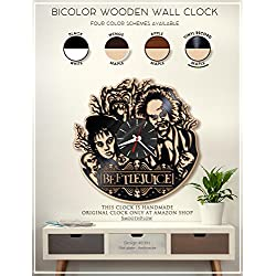 Beetlejuice Wooden Clock. Modern Bicolor Clock. Handmade Wall Clock. Halloween Decor. Tim Burton Fan Art B391(Vinyl Record-Maple)