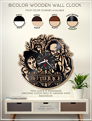 Beetlejuice Wooden Clock. Modern Bicolor Clock. Handmade Wall Clock. Halloween Decor. Tim Burton Fan Art B391(Vinyl -