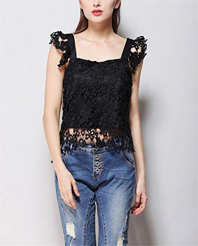 Elegante Nero Oudan shirt Lunghe Estivo Colletto Senza T In Con Da Maniche Quadrato Pizzo Donna ZwqvpZxg